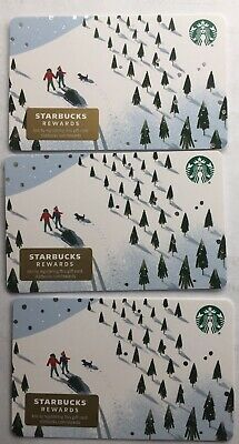 "Lot 3 Starbucks ""TREES IN THE SNOW"" Christmas 2019 Recycled Paper Gift Card set"