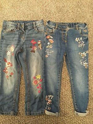 Jeans Embroidered 2 Pairs Girls 3-4 Years