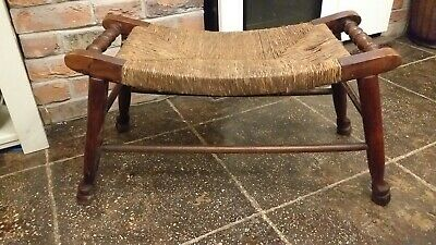 Antique Country Cottage Oak Saddle Stool Rush Seat Fireside Footstool