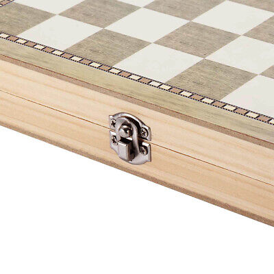 3 in 1 Folding Wooden Chess Set Board Game Checkers Backgammon Draughts Toy