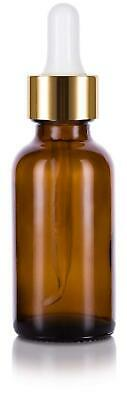 Glass Boston Round Bottle in Amber - Gold Metal and Glass Dropper - 1 oz / 30 ml