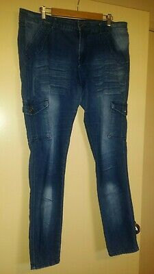 City Chic Denim Cargo Jeans Pants - Stretch Size S 16