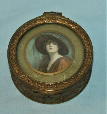 Vintage Victorian Jewelry Casket Trinket Box Woman Embossed Metal Convex Glass