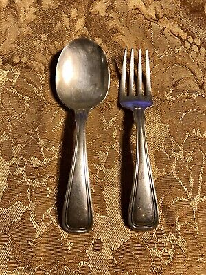 ANTIQUE GORHAM 1855 Threaded Antique STERLING SILVER BABY SPOON & FORK
