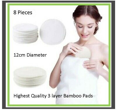 Bamboo Reuseable Breast Pads x 8 - Washable Nursing Pads for Breastfeeding Mums