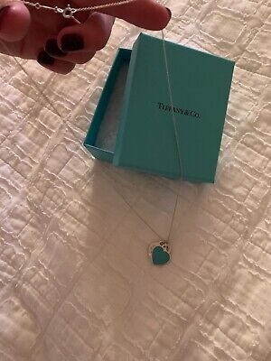 Tiffany & Co. Sterling Silver Mini Double Heart Blue Tag Pendant-Return to Tiff