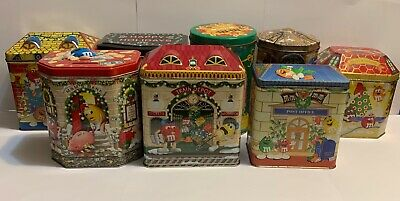 Lot of 8 M&M's Christmas Tins Village Series Toy Shop Fire house Theatre Post Of