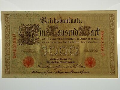 Germany 1910 One Thousand Mark Banknote in Uncirculated Condition