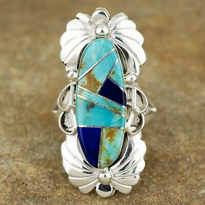 Native American Sterling Silver Turquoise & Lapis Inlay Ring Size 8.75 JY
