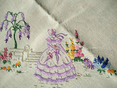 Charming Mauve Crinoline Lady & Gardens   Vintage Hand Embroidered Tablecloth
