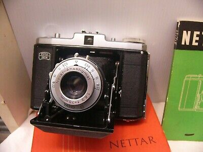 Zeiss Ikon Nettar roll film camera in box, manual.  VGC works well