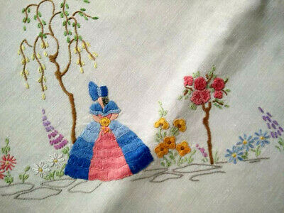Stunning Crinoline Lady & Standard Roses  Vintage Hand Embroidered Tablecloth