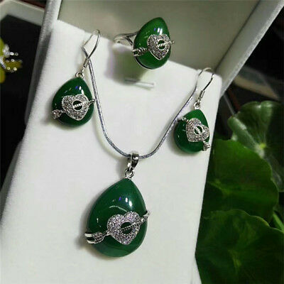 Beautiful China Natural Green Three-piece Agate Jade Hand-carved Lucky Pendant
