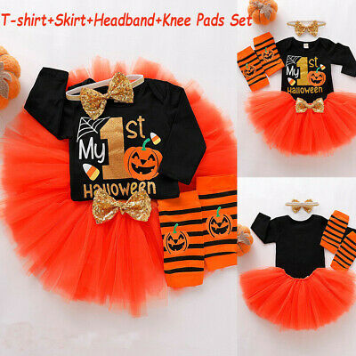 12-18M Toddler Newborn Baby Girls Pumpkin Bodysuit+Skirt+Headband+Knee Pads