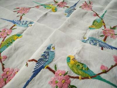 Fabulous Budgies/Budgerigars &Cherry Blossom Vintage Hand Embroidered Tablecloth