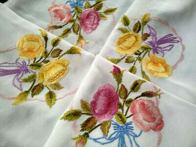 Gorgeous Yellow & Pink Rose Posies/Bows  Vintage Hand Embroidered Tablecloth