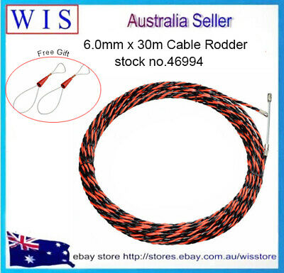6mm x 30m Fish Tape Cable Electric Cable Push Puller Conduit Snake Cable Rodder