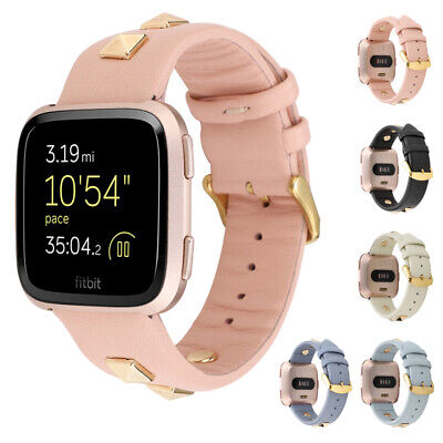 Replacement Classic Genuine Leather Watch Band Strap For Fitbit Versa/Lite UK