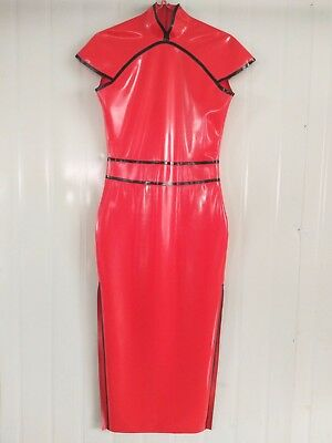 Latex Rubber Skirt Gummi Dress Sleeveless Rot Sexy Hip Rock Fashion Kleid S-XXL