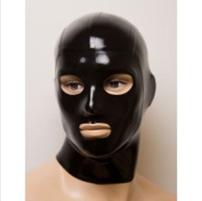 Latex Rubber Mask Schwarz Gummi Hood Cosplay Masque Open Eyes and Mouth S-XXL