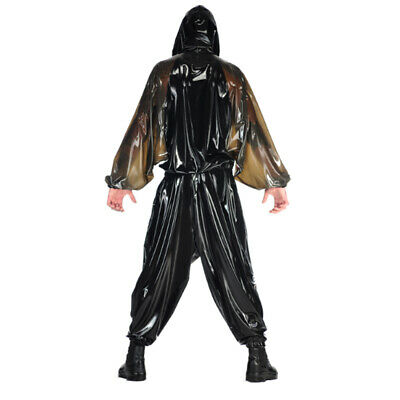 Latex Rubber Catsuit Hooded Loose Auzug Top&Pants Gummi Braun&Schwarz Bodysuit