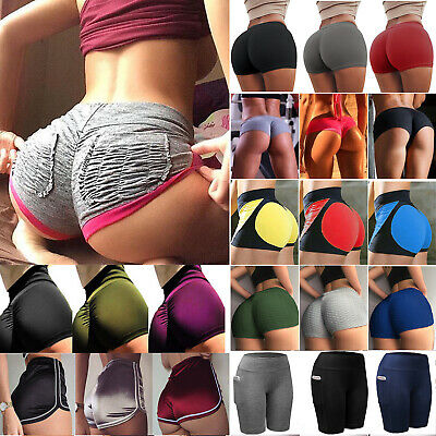 Women Yoga Shorts Pockets Puched High Waisted Sports Gym Workout Fitness Pants