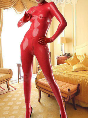 Latex Rubber Rot Chest Catsuit Sexy Tight Wetlook Gummi Bodysuit Zipper Auzug