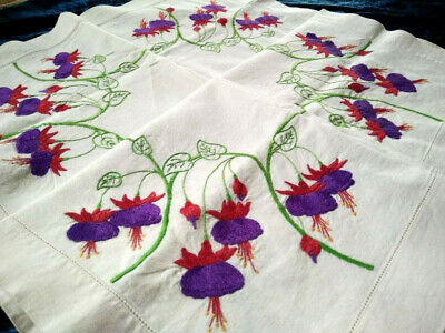 Stunning Purple/Red Fuschias  Vintage Heavily Hand Embroidered Tablecloth
