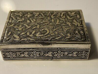 Stunning Antique/ Art Nouveau Solid Sterling Silver Hinged  Snuff Box 43.4g