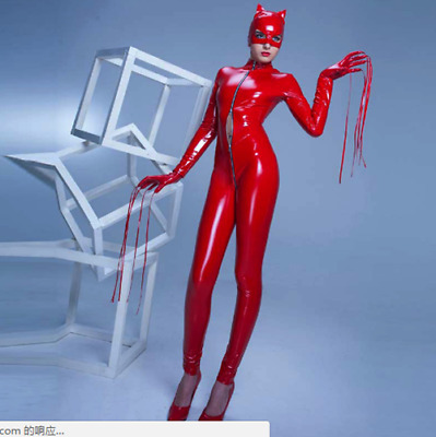 Latex Rubber Cat Catsuit Wetlook Rot Zipper Overall Mask Cool Bodysuit Cosplay