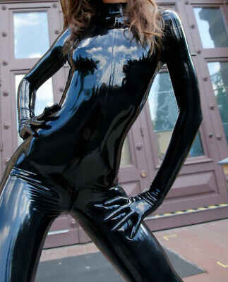 Latex Rubber Anzug Catsuit Gummi Set Tight Schwarz Sexy Bodysuit Cosplay S-XXL