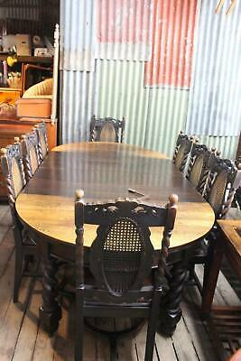 A Jacobean Oak 9 Piece Dining Setting Circa.1920's - Extension Table & 8 Chairs