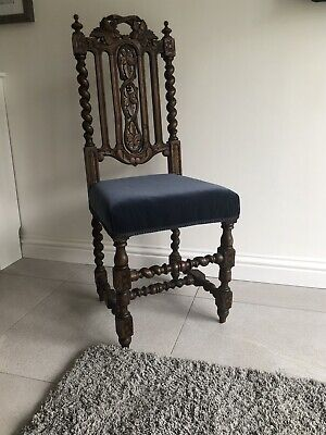 Antique Victorian Carved Oak Barley Twist Hall Chair Black Forest Style