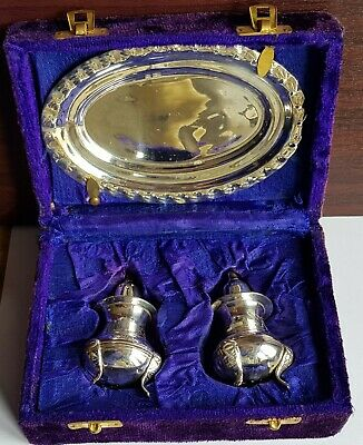 Vintage Silver Plated Condiment Set, Salt & Pepper Pots and Dish / Tray with Box
