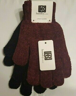 Laundry By Design 2 Pack Women's Gloves Black & Maroon One Size NWT Free Ship