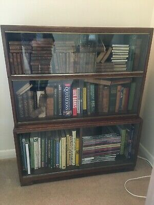 MINTY Vintage Glazed Stacking 3  Sectional Library Oxford Bookcase Cabinet