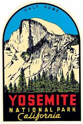 Yosemite National Park   Half Dome  Vintage 1950's Style  Travel Decal Sticker