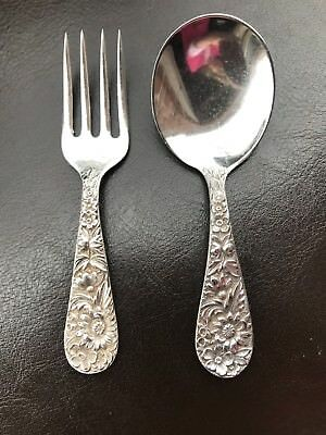 Kirk&Son Inc REPOUSSE STERLING SILVER Baby Fork and Spoon Set L 3 3/4""