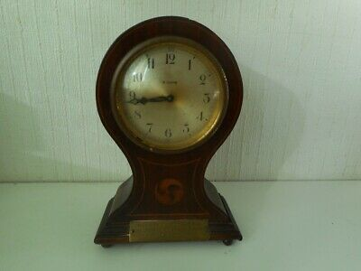 Antique 8 Days Balloon Shaped Inlaid Wooden Mantel Clock