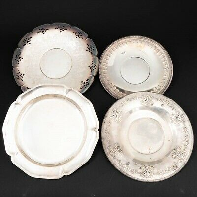 Set of 4 Vintage & Antique Silverplate Circular Trays: Rogers, Reed & Barton, +