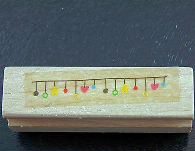 Small Mini Funky Bunting Border Rubber Stamp