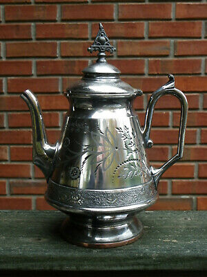"""10"""" Antique Silverplate Coffee Or Tea Pot-Homan-Late 1800s-Etched Flowers"""