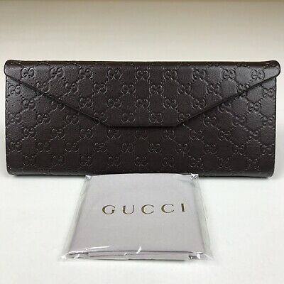 GUCCI Guccisima Brown Leather Branded Collapsible Glasses Case & Cleaning Cloth