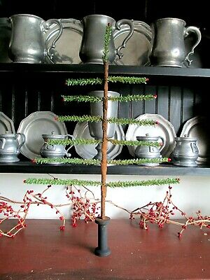 Primitive Christmas Large faux German feather tree with red pips