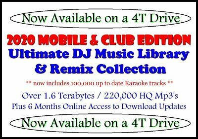 2020 Ultimate Mobile & Club DJ Music $ Karaoke Library Collection - 4T Drive