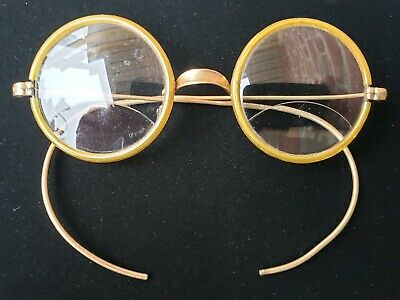 Rare Antique 12k Gold Round Wireframe Eyeglasses Spectacles c1800's Steampunk
