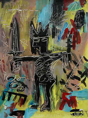 Rare Unique painting, Expressive art, signed, Jean Michel Basquiat, COA & DOCS.