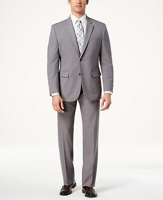 $650 Nautica Men's 44S Gray Modern Fit 2 Piece Check Suit Jacket Blazer Pants