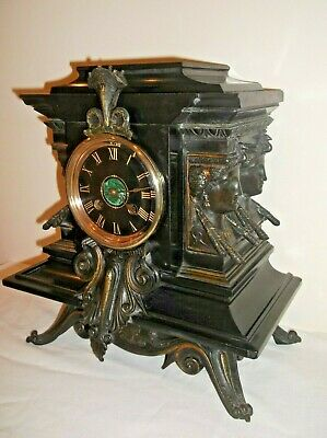 EGYPTIAN REVIVAL VICTORIAN MANTLE CLOCK IN PERFECT WORKING ORDER. circa 1880 +