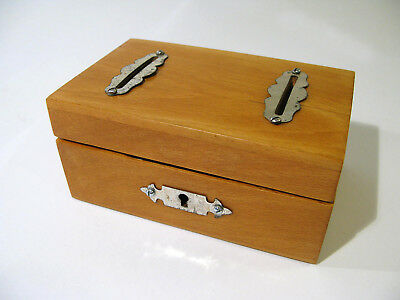 Antique Early 1900s Solid Birch 2-Slot Coin Box